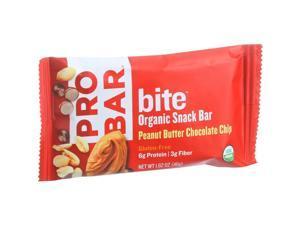 Probar Bite Organic Snack Bar - Peanut Butter Chocolate Chip - 1.62 oz Bars, (Pack of 12)
