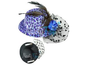 Blue Leopard Mini Top Hat Feather Rose Veil