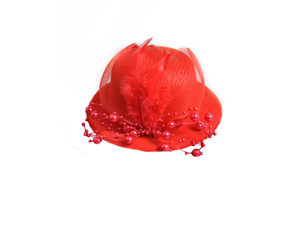 Red Pearl Feather Gothic Burlesque Pin-Up Mini Top Hat