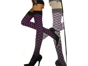 Sexy Black, Purple Opaque Checkered Thigh High Costume Stockings, One Size