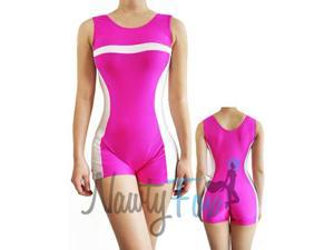 Pink & White Striped Biketard Unitard