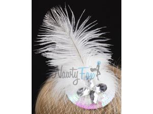 White Bridal Wedding Rhinestone Mini Hat