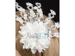 White Bridal Rhinestone Head Piece Fascinator