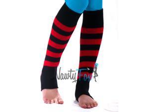 Red & Black Dance Leg Warmers