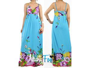 Turquoise Floral Summer Maxi Dress