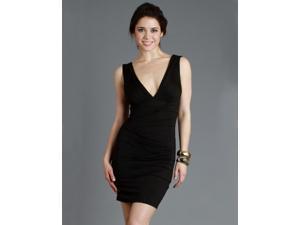 Black Deep V-Neck Mini Dress