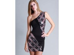 Black Pink One Shoulder Plaid Sequins Dress