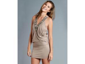 V-Neck Tan Embellished Dress