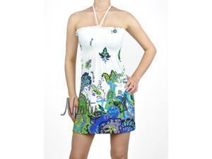 White Green Paisley Halter Dress
