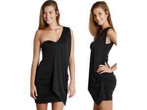 Black One Shoulder Drape Mini  Dress