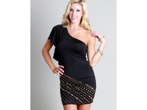Black One Shoulder Beaded Dress