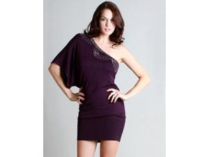 Dark Purple One Shoulder Beaded Sweater Dress