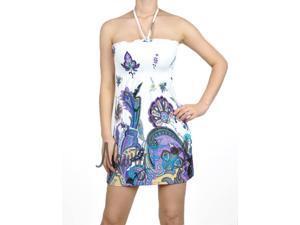 White Purple Paisley Halter Dress