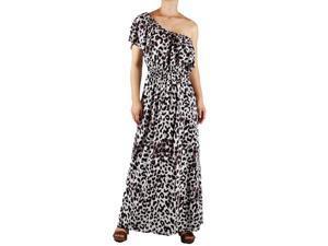 Brown Leopard One Shoulder Maxi Dress