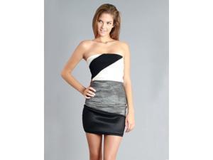 Gray Rhinestone Strapless Tube Dress