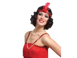 Curly Flapper W/Hdband Black Wig