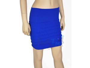 Blue Seamless Layered Mini Skirt