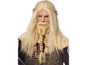 Mens Blonde Viking Warrior Wig & Beard