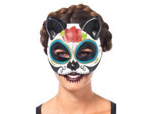 Multicolor Sugar Skull Cat Mask