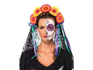Day Of The Dead Flower Headband With Lace Veil O/S Multicolor