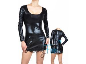Shiny Metallic Black Fetish Dress