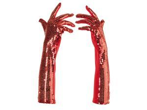 Red Sequined Long Womens Costume Gloves