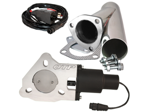 "QTP QTEC25CPS 2.5"" 2-1/2"" Electric Exhaust Valve & Stainless Cutout Y-Pipe"