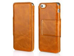 Aleratec Genuine Leather Folio Flip Case Wallet for iPhone 5 Brown