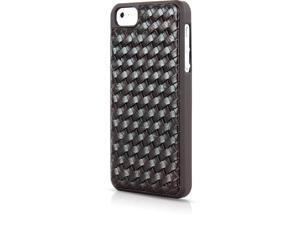 Aleratec Hard Snap Case Shell with Leather Weave Texture Protective Back Cover for iPhone 5 Brown