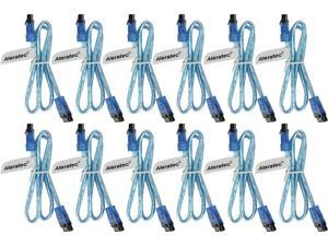 Aleratec SATA III 3 Cable 6gb, Transparent Blue, Straight to Straight with Clips, 20-Inches 12-Pack Combo