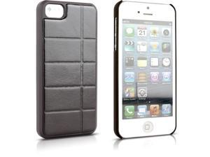 Aleratec Hard Snap Case Shell with Leather Protective Back Cover for iPhone 5 Brown