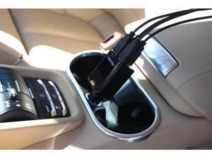 Aleratec Quad 4 Port USB 9.6a (2.4a amps x 4) Rapid Car Charger for iPhone, Smartphones, iPad and Tablets
