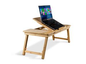 Aleratec Bamboo Adjustable Laptop Stand Up to 15in Tablet Reading Table Desk