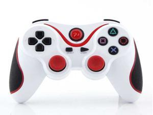 Wireless Cordless Bluetooth Game Pad USB Controller For Playstation 3 PS3 (Twin Pack) - White w/ Red Stripe