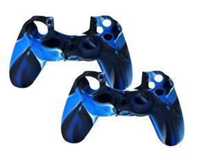 2 Pack For PS4 Sony Playstation 4 Game Controller - Silicone Gel Rubber Camouflage Pattern Skin Case Cover - Blue