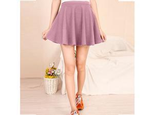 Mini Skirt Candy Color Stretch Waist Plain Jersey Skater Flared Pleated casual- (Select Colors)