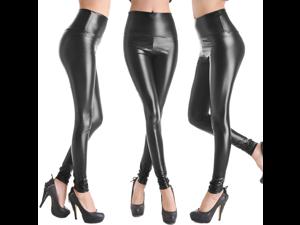 Shiny Black Faux Leather High Waist Leggings Stretch Pants Ladies Fashion Leggings- Medium Size