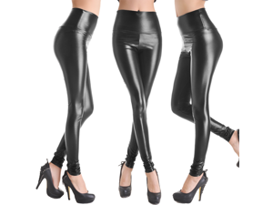 Faux Leather High Waist Leggings Stretch Pants Ladies Fashion Leggings- Large Size- Shiny Black