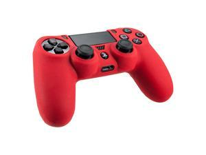2pcs Combo Silicone Rubber Soft Case Gel Skin Cover For Sony PlayStation 4 PS4 Controller- Red