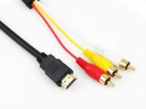 2pcs Pack HDMI to 3 RCA RGB Audio Video AV Component Cable Cord Wire - Black