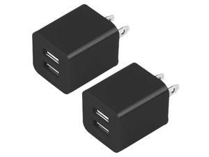 Dual USB Wall Charger Adapter - 2.1 Amp / 1.1 Amp for Apple iPhone 6 plus/6/5S/5C/5/4, Tablets,Samsung S5 S4 S3 S2 - 2pcs Black