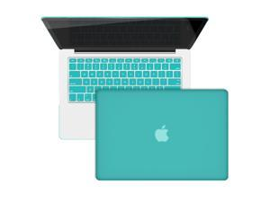 Premium Macbook Pro Rubberized Case 13-Inches Retina Display with Screen Film + Keyboard Skin (Tiffny Blue)