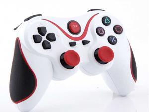 For PS3 Wireless Bluetooth USB Game Controller Pad Joystick for Sony PlayStation 3 PS3 (White + Red Stripe)