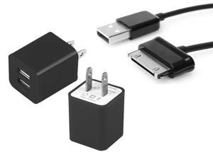 USB wall charger + USB Data cable For Samsung Galaxy Tab 2, 3, 10.1, 8.9, 7.7, 7.0, 7.0+ - Black