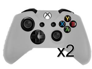 2X Soft Silicone Rubber Cover Case Skin for Microsoft Xbox One Controller White