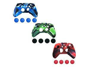 Silicone Cover Case Skin & Grip Stick Caps For Xbox One Controller 3 Color Pack