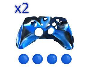 2 PCs Camo-Soft-Silicone-Rubber-Case-Skin-Grip-Cover-For-Xbox-One-Wireless-Controller