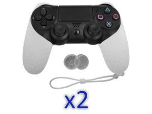 Silicone Cover Case & 4 Grip Stick Caps For Sony Playstation 4 PS4 Controller - 2 Pack