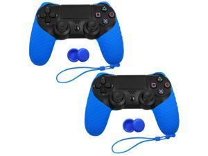 For Sony Playstation 4 PS4 Controller Silicone Cover Case & 4 Grip Stick Caps - 2 Pack