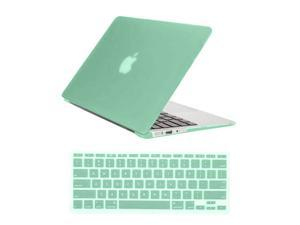 "Rubberized Matte Hard Case for Apple Macbook Air 11"" A1370 / A1465 + Silicone Keyboard Skin Cover Back Case Cover For Macbook Air 11-Inch AQUA GREEN"